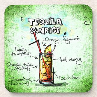 Tequila Sunrise Drink Recipe Beverage Coasters