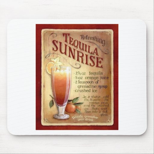 tequila sunrise recipe mouse pad