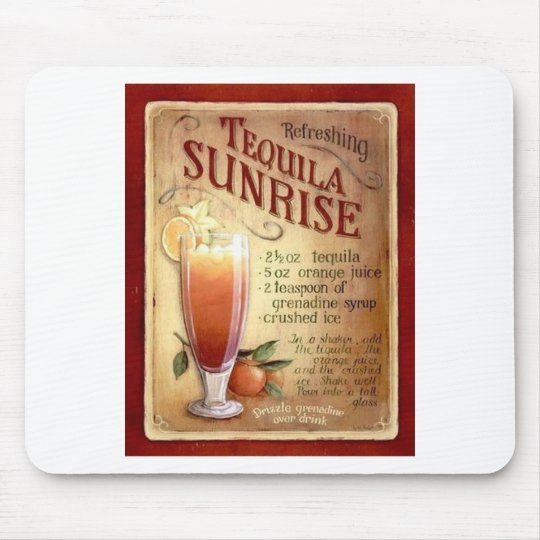 tequila sunrise recipe mouse pad