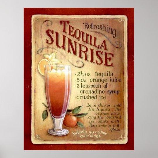 tequila sunrise recipe poster