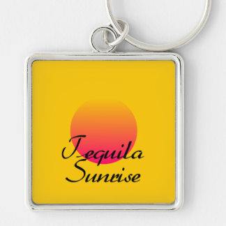 Tequila Sunrise Silver-Colored Square Keychain