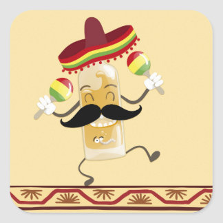 Tequila with Sombrero Square Sticker
