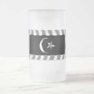 Terengganu waving flag frosted glass beer mug