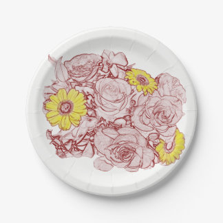 Terra  Cotta Outlined Bouquet 7 Inch Paper Plate