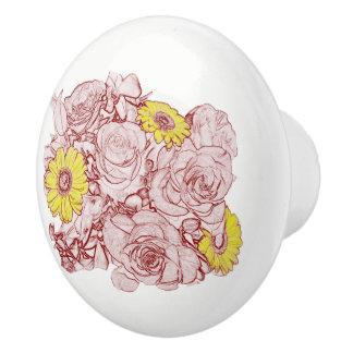 Terra  Cotta Outlined Bouquet Ceramic Knob