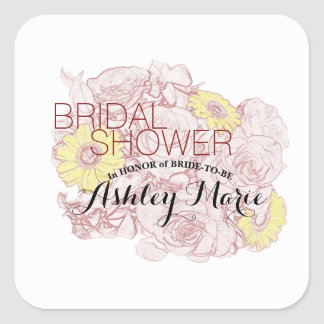 Terra  Cotta Outlined Bouquet Square Sticker