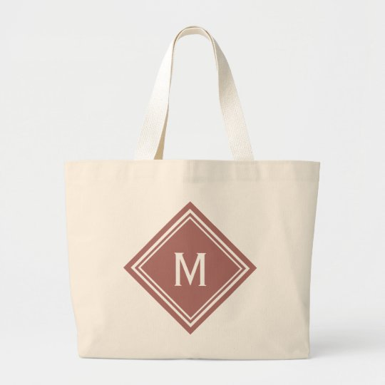 Terra Cotta Red Diamond Monogram Large Tote Bag