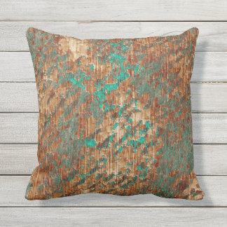 Terra Cotta Turquoise Grunge Plaster Effect Throw Pillow