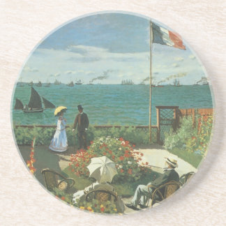 Terrace at the Seaside by Claude Monet Beverage Coaster