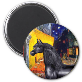 Terrace Cafe - Black Arabian Horse 2 Inch Round Magnet