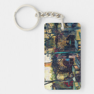 Terrace  Cafe on Montmartre Vincent Van Gogh Double-Sided Rectangular Acrylic Keychain