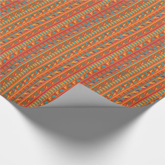 Terracotta Abstract Aztec Tribal Print Pattern Wrapping Paper