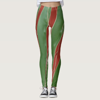 Terracotta and green leaf pattern leggings
