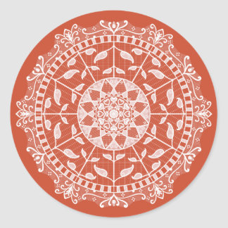Terracotta Mandala Classic Round Sticker