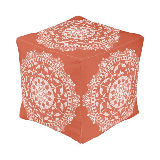Terracotta Mandala Pouf