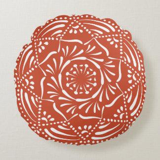 Terracotta Mandala Round Pillow