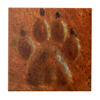 """Terracotta Paw Print"" by Carter L. Shepard"" Tile"