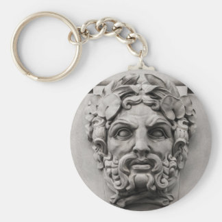 Terracotta Stone Faces on Historic Building Basic Round Button Keychain