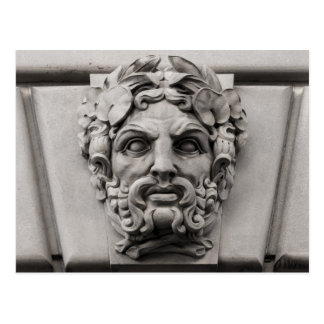 Terracotta Stone Faces on Historic Building Postcard