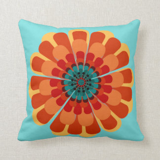 Terracotta & Teal Flower Throw Pillow