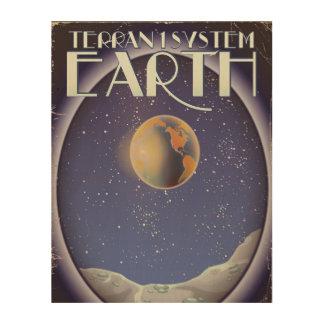 Terran 1 System Earth sci-fi travel poster Wood Prints