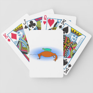 Terrapin floating on a fox bicycle playing cards