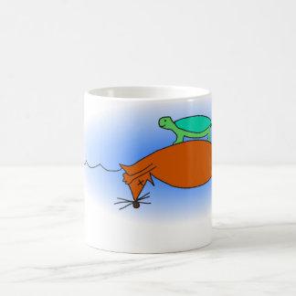 Terrapin floating on a fox mug