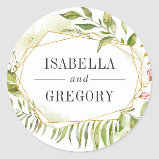 Terrarium | Green Botanical Wedding Classic Round Sticker