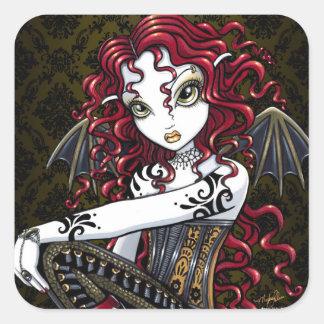 """""""Terri"""" Gothic Red Rose Fairy Fantasy Stickers"""