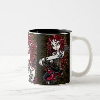 """Terri"" Gothic Red Rose Tattoo Fairy Art Mug"