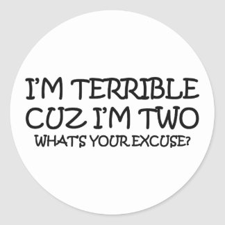 Terrible Two Birthday Classic Round Sticker