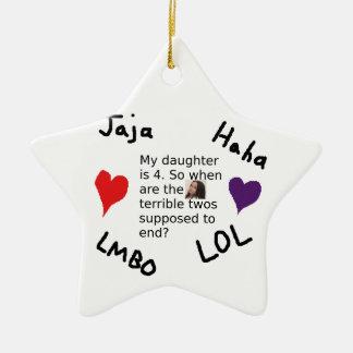 Terrible Twos Customizable Child Photo Design Ceramic Ornament