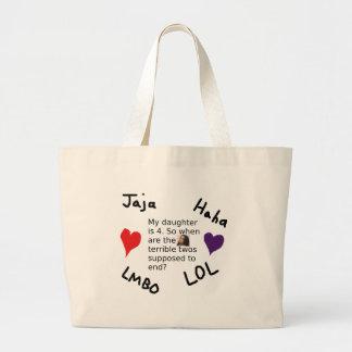 Terrible Twos Customizable Child Photo Design Large Tote Bag