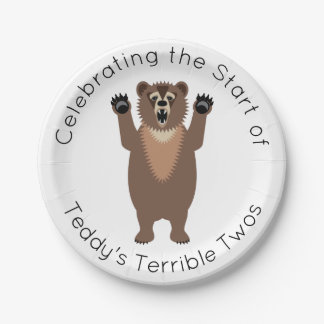 Terrible Twos Little Boy's Birthday Cake 7 Inch Paper Plate