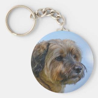 Terrier Design Basic Round Button Keychain