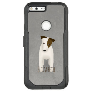 terrier dog jack russell with head tilted OtterBox commuter google pixel XL case