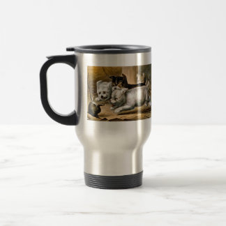 Terrier Dogs Chasing a Rat Travel Mug