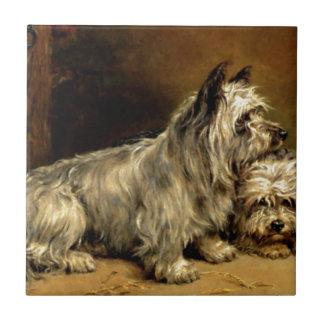 Terrier Dogs Pets Antique painting Tile