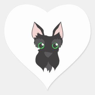 Terrier Head Heart Stickers
