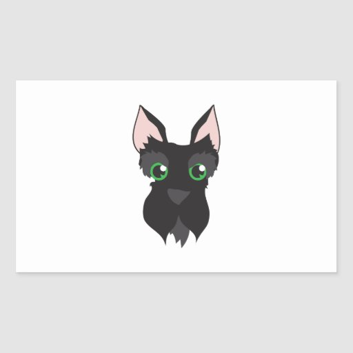 Terrier Head Rectangle Stickers