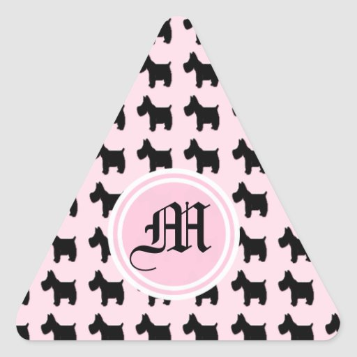 Terrier Prints with Pink Background Monogram Triangle Stickers