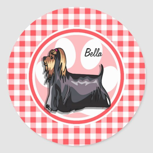 Terrier; Red and White Gingham Round Sticker