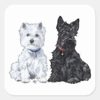 Terriers blancs et écossais des montagnes occident autocollants carrés