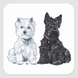 Terriers blancs et écossais des montagnes sticker carré