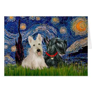 Terriers écossais (deux-BW) - nuit étoilée Carte De Vœux