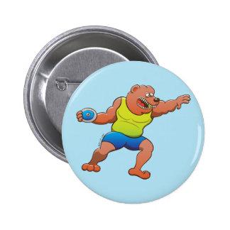 Terrific brown bear performing a discus throw 2 inch round button