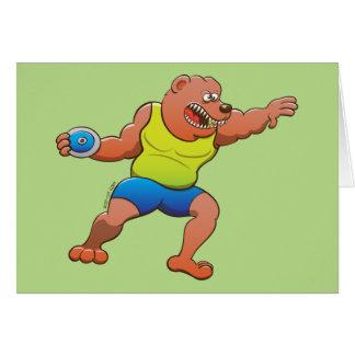 Terrific brown bear performing a discus throw card