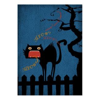 Terrified Black Cat on Halloween Night Large Business Card