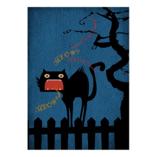 Terrified Black Cat on Halloween Night Pack Of Chubby Business Cards
