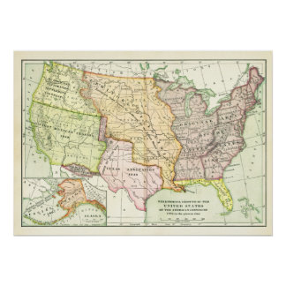 Territorial Growth United States Retro Vintage Map Poster